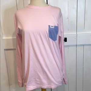 Fraternity Collection Pink Plaid Pocket LongSleeve